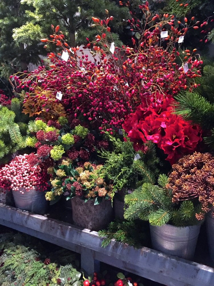 Artificial Christmas flowers and foliage, Christmas World, February 2017